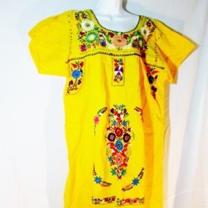 NEW WOMENS Embroidered PUEBLA Wedding Dress Mexico